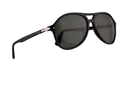 f7bf68c71605 Image Unavailable. Image not available for. Color: Persol 3194-S Sunglasses  Black w/Green Lens ...