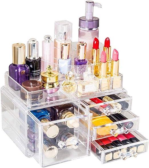 LDG Acrílico Organizador Maquillaje, Lápiz Labial Cosmético Caja Almacenamiento con Cajón Gran Capacidad Expositor Cosmeticos: Amazon.es: Hogar