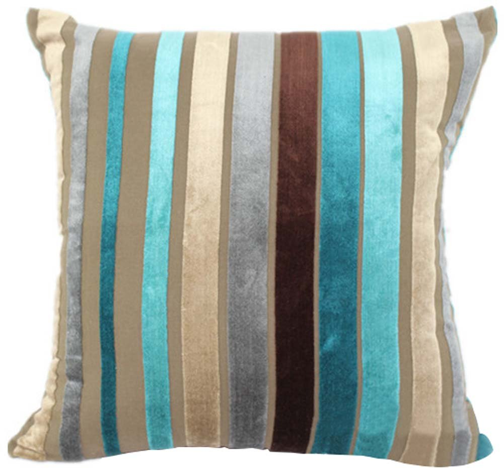 YJ Bear Colorful Striped Panne Velvet Pillow Case European Vintage Soft Cushion Cover Standard Size Cushion Sham Decorative Body Cushion Protector With Invisible Zipper Turquoise 26'' X 26''