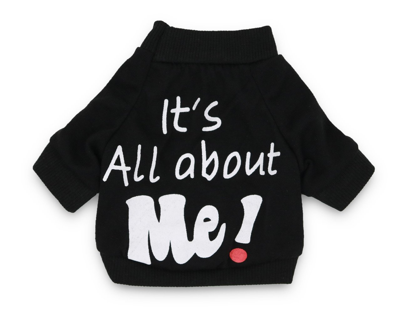 DroolingDog Pet Dog Cloth IT'S ALL ABOUT ME Cute Birthday Costume Shirt for Small Dogs (X-Small, Black)