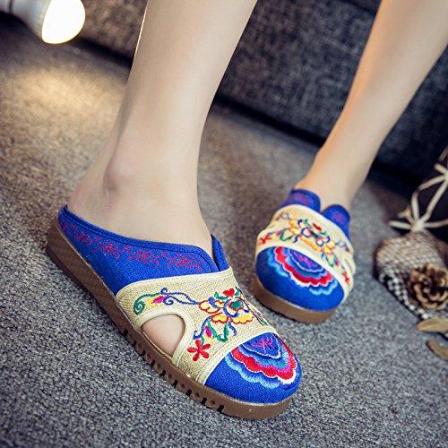 Azul Cómodas Unico Sandalias Moda Estilo Zapatillas Tendón Chanclas Mujer Aleatorio Étnico Bordadas Mn qH4ax1S