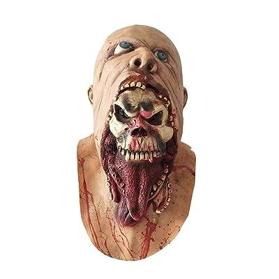 Beaupretty Máscara de Halloween Máscara sangrienta Zombie Cara Derritirse Miedo Látex Caminando Muerto Disfraz de adulto Cara Apoyos de fiesta: Belleza