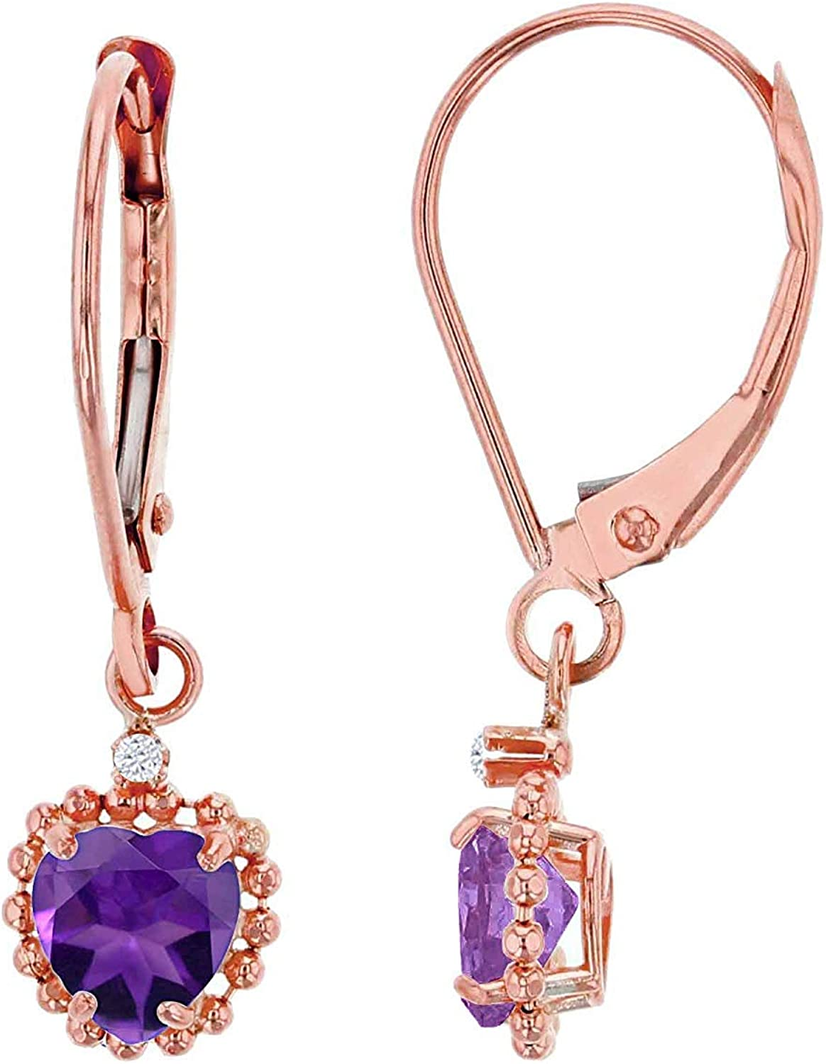 10K White Gold 1.25mm Round White Topaz /& 6x4mm Oval Pink Topaz Bead Frame Drop Leverback Earring