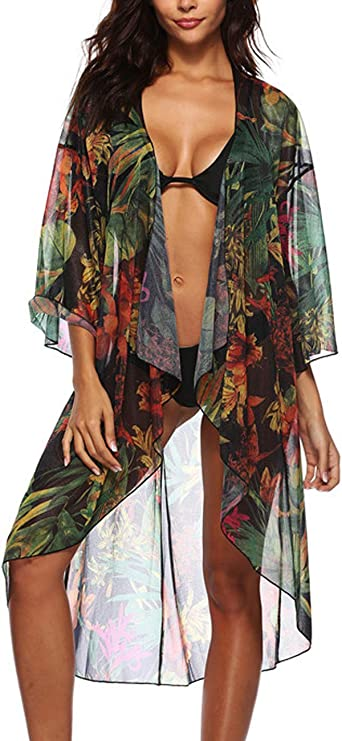 Cover Ups for Women Long Sleeve Lightweight Chiffon Floral Kimono Beach Cover  Up at Amazon Women's Clothing store