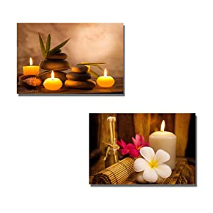"wall26 - Canvas Prints Wall Art - Spa Still Life with Aromatic Candles and Frangipani | Modern Wall Decor/Home Decoration Stretched Gallery Canvas Wrap Giclee Print - 16""x24"" x 2 Panels"