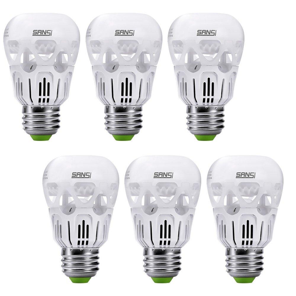 SANSI 40 watt Light Bulbs 5w LED Bulb Equivalent 40w Incandescent Bulb Daylight 5000k Cool White A15 LED Bulb E26 Base 500 Lumen Non-dimmable Energy Saving Bulb for Fans Lamps 5-Year Warranty (6-Pack) by SANSI (Image #1)