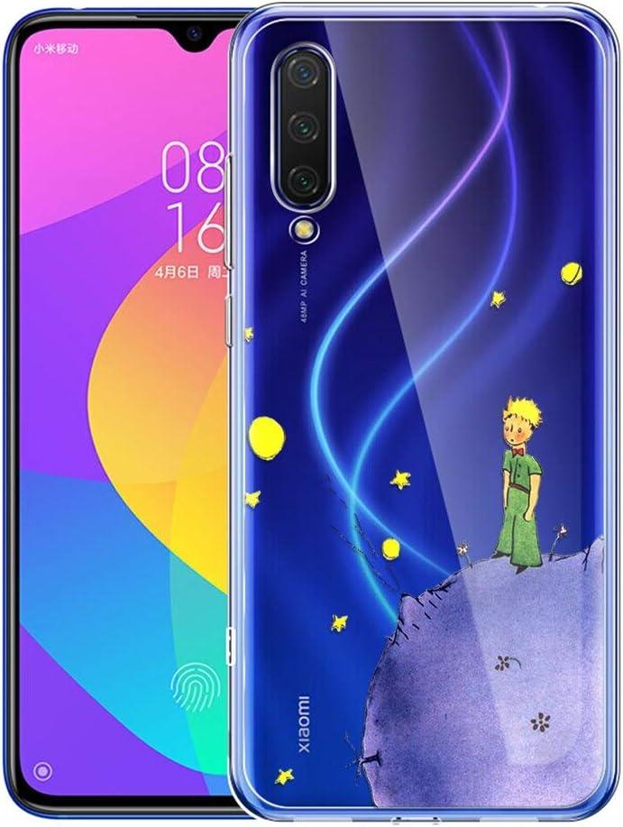 YOEDGE Funda Xiaomi Mi A3 Ultra Slim Cárcasa Silicona Transparente con Dibujos Animados Diseño Patrón [El Principito] Resistente Bumper Case Cover para Xiaomi Mi A3 / Mi CC9e (Púrpura)