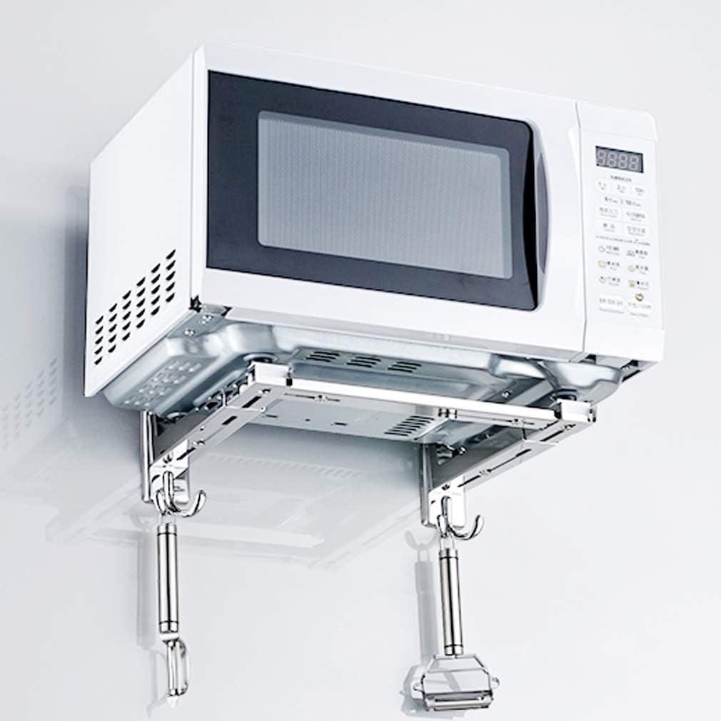 Gutsbox Soporte de Pared Estante para microondas con 4 Ganchos de ...
