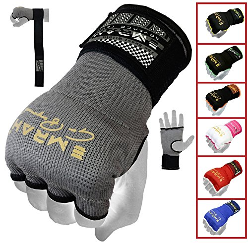 EMRAH PRO Training Boxing Inner Gloves Hand Wraps MMA Fist Protector Bandages Mitts – X (Grey, Medium)