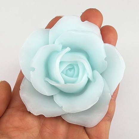 Flexible DIY Vela moldes manualidades fácil desmoldar 3d diseño de flores de rosas con forma de