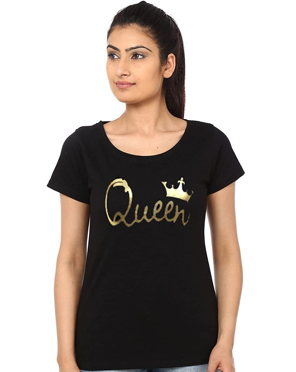 398ea84af1 ADYK Women's Half Sleeves Queen T-Shirt: Amazon.in: Clothing & Accessories