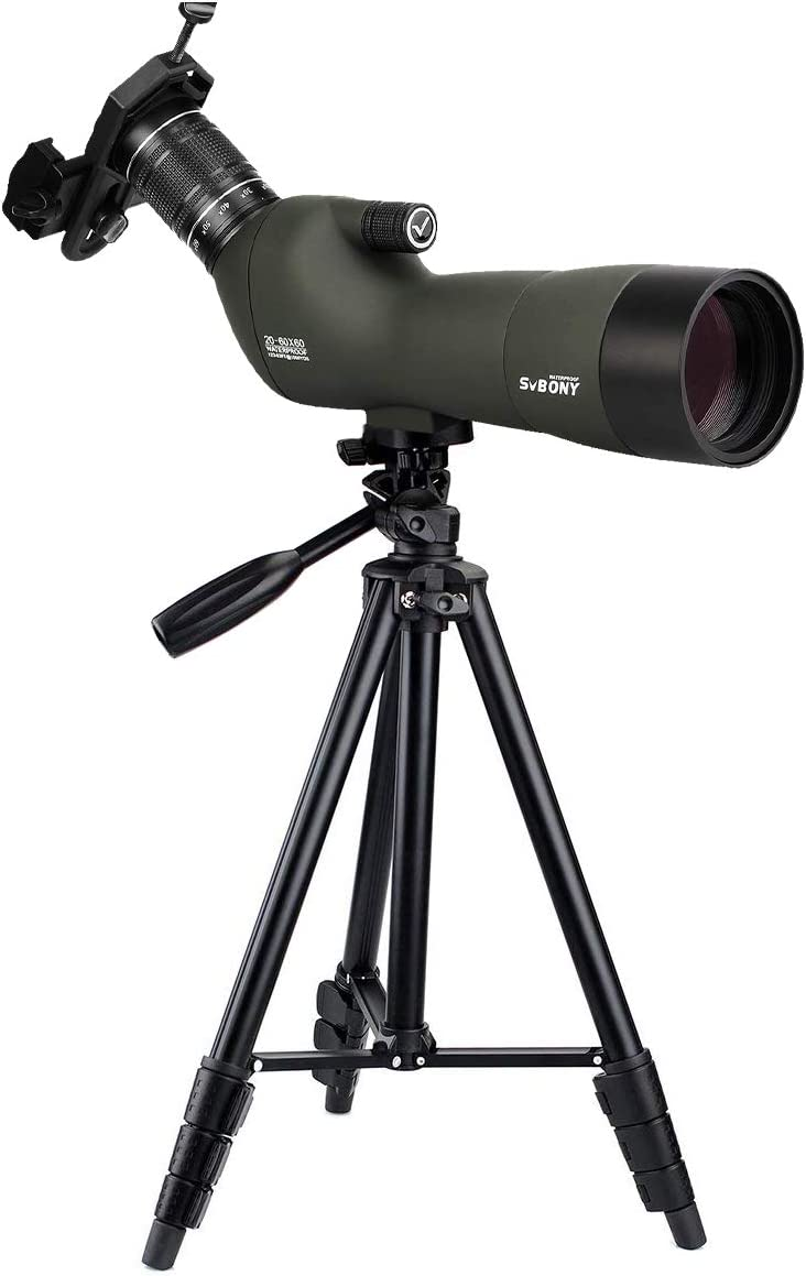 SVBONY SV29 Spotting Scope with Tripod Phone Adapter 20-60x60mm Prism for Bird Watching Target Shooting