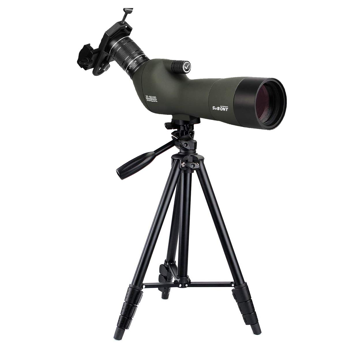 SVBONY SV29 Spotting Scope 20-60x60mm Zoom Spotting Scope Bak4 Prism IP68 Waterproof for Bird Watching Shooting Camping with Tripod (3-Sections Tripod) by SVBONY