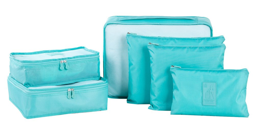 Sunee 6-pc Set Waterproof Packing Cubes,3 Travel Cubes + 3 Pouches (Blue)
