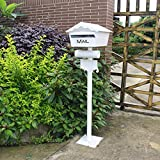 BLRYP Mailbox Postal Mailbox Decorative Cast Aluminum Mailbox Freestanding Stand Pole Mailbox Mailbox Mailbox Letter Box Villa Garden Decoration Decorative Mailbox White Home,Outdoor,Office,Garden,Sch