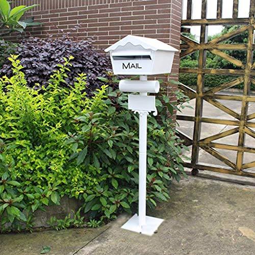 (BJLWTQ Postal Mailbox Decorative Cast Aluminum Mailbox Freestanding Stand Pole Mailbox Mailbox Mailbox Letter Box Villa Garden Decoration Decorative Mailbox White)