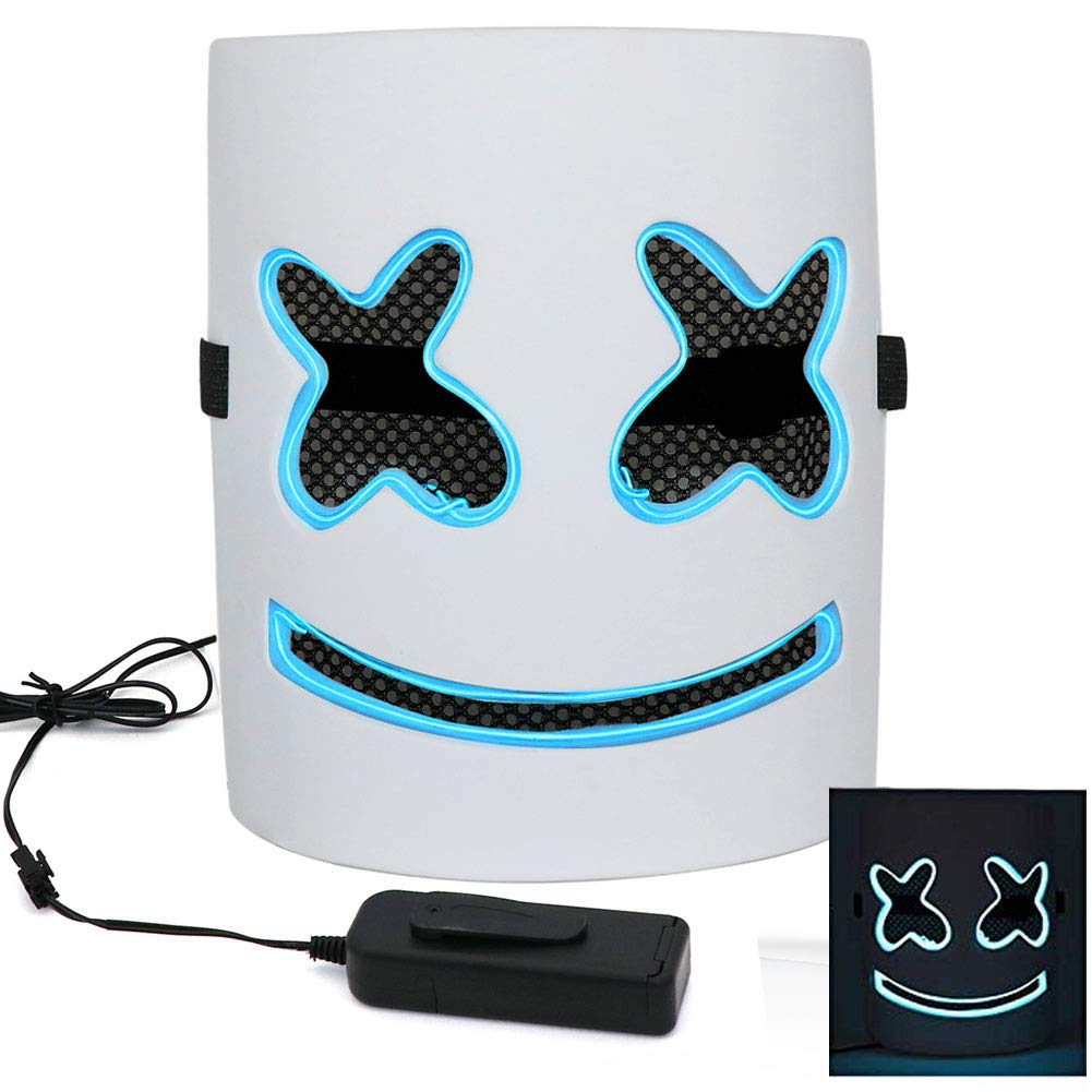 West Bay Light up DJ Mask, Halloween Masks Halloween Party Decor Music Festival Face Mask Cosplay Prop Party Bar Adjustable Rope Costume Masks Blue LED Lights by West Bay