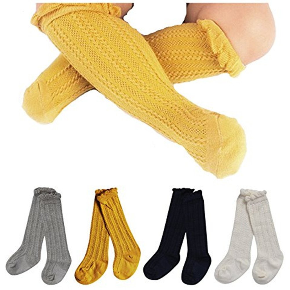 Toptim 4 Pairs Baby Toddlers Cable Knit Knee High Socks for Boy and Girls 0-3T (1-3T, Sets of 4)