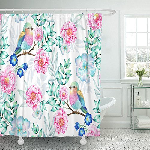 VaryHome Shower Curtain Bird Heavenly Floral with Exotic Detailed Antique Camellia Tree with Lilac Breasted Roller Beautiful Waterproof Polyester Fabric 72 x 72 inches Set with Hooks - Lilac Breasted Roller