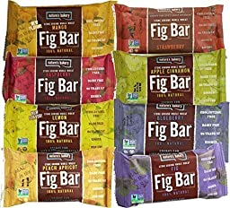 Nature\'s Bakery Whole Wheat Fig Bars 8-Flavor Variety Pack, All Natural Snack Food