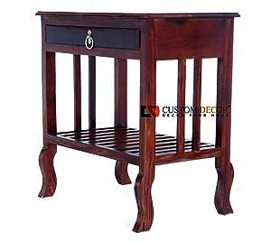 Custom Decor Japanese Style Bedside Table for Bedroom   Solid Wood Side Table for Bedroom   Living Room Table   Side Table for Living Room Furniture Made with Solid Indian Sheesham Wood - Mahogany Finish