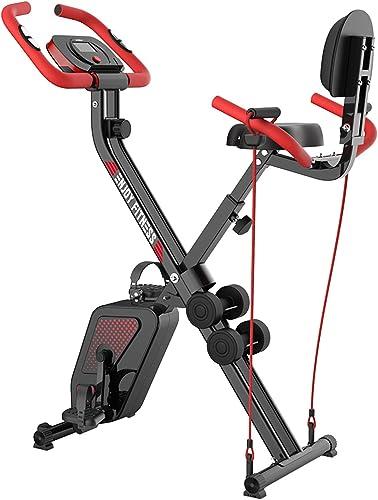 pooboo Folding Exercise Bike Indoor Foldable Exercise Cycling Bike