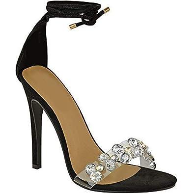 Style Femme Lacetsfaux Diamants Décoratifs Sandales Chaussures À Talons q35L4ARj