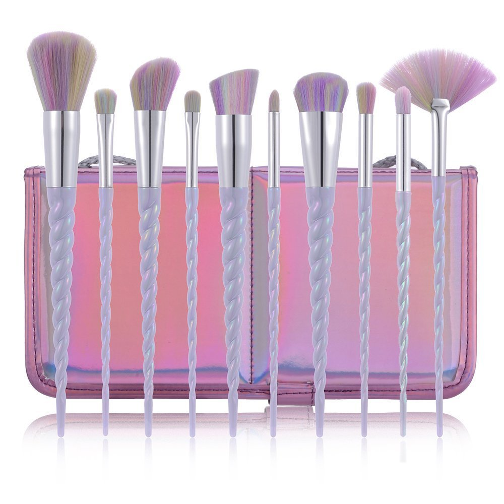 fiveaccy Unicorn Makeup Brushes Makeup Brushes Set Rainbow Professional Powder Cream Blush Brush Kits with Bag (10Pcs) (Unicorn brushes)