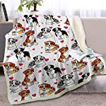 BlessLiving Red Hearts Dog Cat Print Plush Blanket Cute Puppy for Kids Adults 3D Animal Print Plush Blanket Gift for Pet Lovers (Australian Shepherd,Throw, 50 x 60 Inches) 5