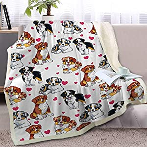 BlessLiving Red Hearts Dog Cat Print Plush Blanket Cute Puppy for Kids Adults 3D Animal Print Plush Blanket Gift for Pet Lovers (Australian Shepherd,Throw, 50 x 60 Inches) 1