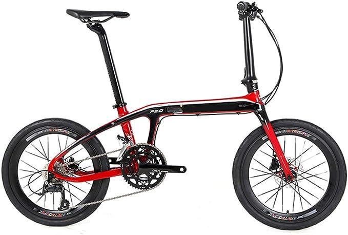 SYCHONG Bicicleta Plegable - 20 Bicicleta Plegable Pulgadas, Chasis Ultraligero Plegable De Fibra De Carbono, 16 Velocidades De Doble Freno De Disco De Bicicletas Plegables,Rojo: Amazon.es: Deportes y aire libre