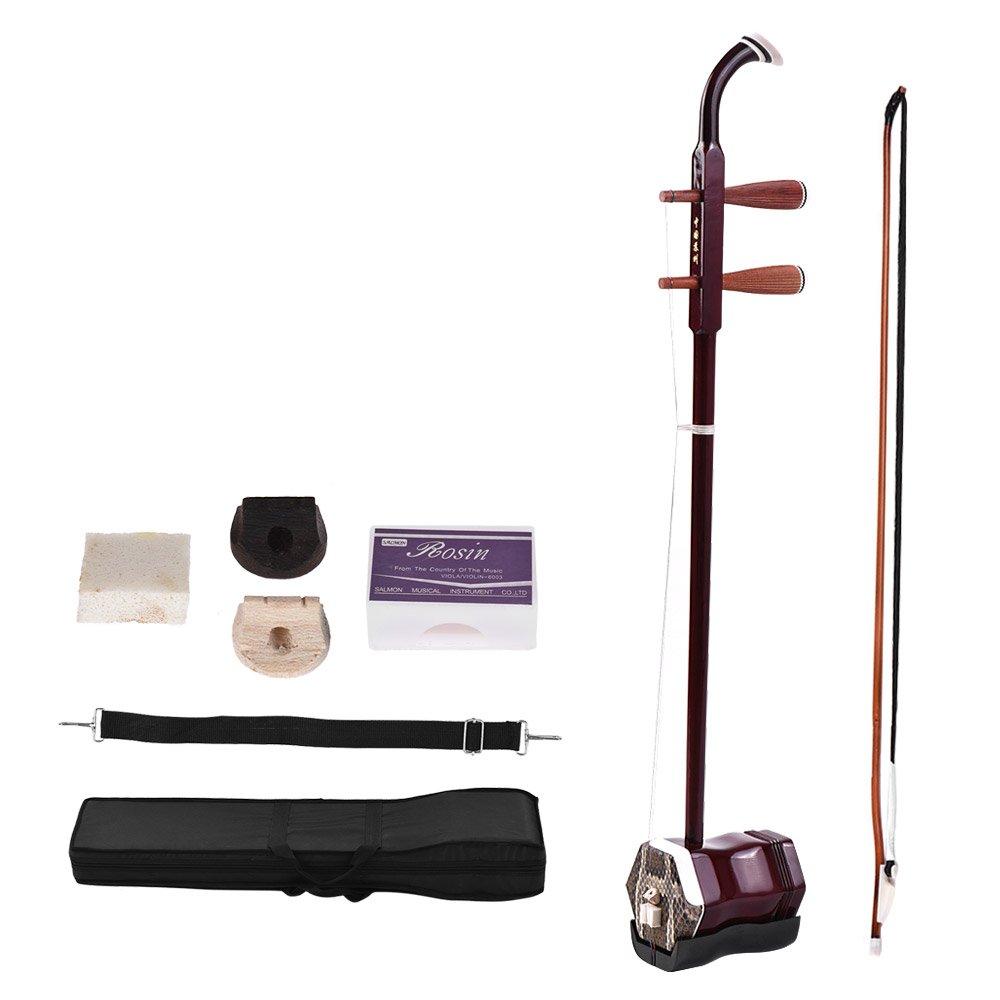 ammoon Solidwood Erhu Chinesische 2-saitige Violine Fiddle Stringed Musikinstrument Instrument Chinese 2-string Musikinstrument + Gratis Zubehör Dark Coffee 1