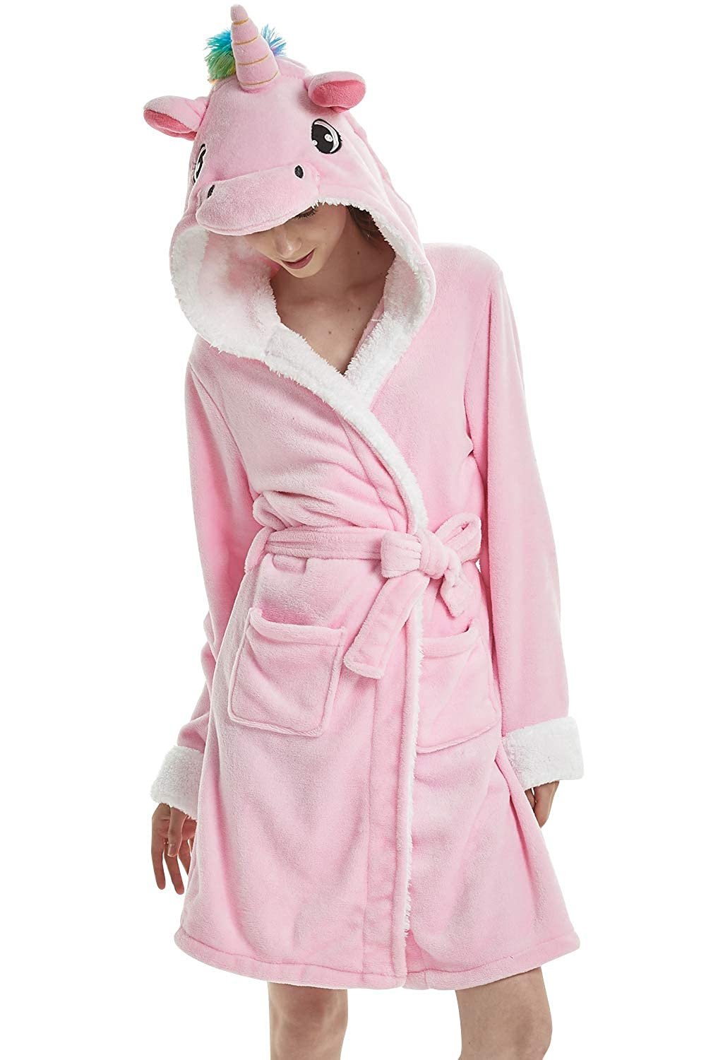 Dolamen Unisex Men's Women's Dressing Gowns Bathrobe with Hood, Coral Fleece Soft Kigurumi Cartoon Morning Housecoat Nightwear Pyjamas Belt Pockets