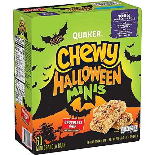 Quaker Limited Edition Chewy Halloween Chocolate Chip Mini Granola Bars with Candy Pieces, 0.49 oz Each Bar, 60 count - Total 29.6 oz