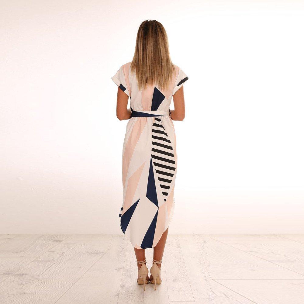 Lmx+3f Women Casual Short Sleeve Deep V-Neck Printed Maxi Dress with Belt Loose Solid Color Soft Comfy Dresses