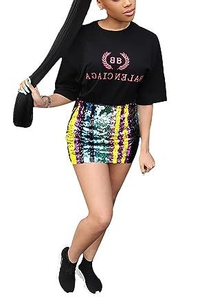 03899d7453874 LKOUS Women's Sexy Rainbow Striped Sequin High Waist Bodycon Pencil Tube  Short Mini Skirt at Amazon Women's Clothing store: