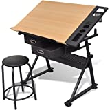 vidaXL Tiltable Tabletop Drawing Table Stool Home Office Durable Two Drawers
