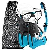 Phantom Aquatics Speed Sport Signature Mask Fin Snorkel Set, Aqua, Medium/Size 7-10