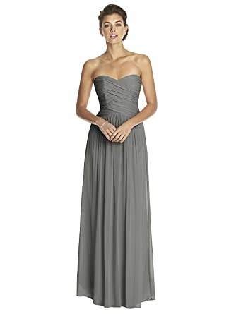 4a94c7da6960 Dessy Women's Full Length Strapless Lux Chiffon Dress w/Sweetheart Neckline  by, Charcoal Gray