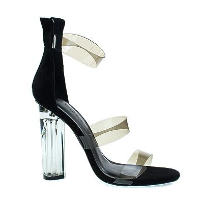 f1cfc05fc0 Wild Diva Mono10 Black Perspex Round Block Heel Sandal w Clear Triple Strap.  Transparence Lucite