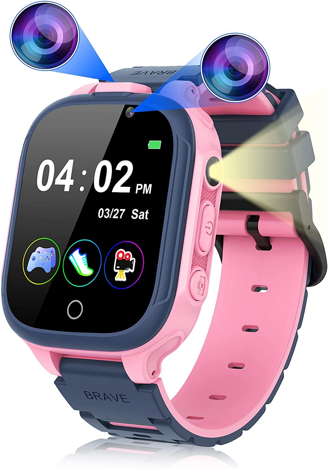 Smart Watch for Kids Boys Girls, Kids Smart Watch with Dual Camera 14 Games Pedometer, Touchscreen Game Watches with MP3 Music Player Video Recorder, Birthday Gift for Children Age 3-12 (Pink)