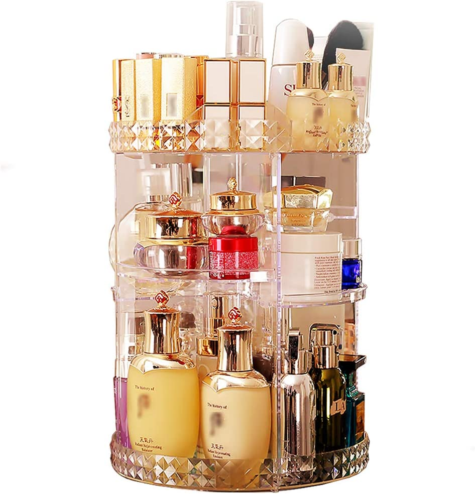 360 Degree Rotating Makeup Organizer,Clear Acrylic, DIY Adjustable Height,Cosmetic Carousel,Jewelry Cosmetic Display Box, Large Capacity Spinning Holder Makeup Storage