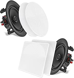 "10"" Ceiling Wall Mount Speakers - Pair of 2-Way Full Range Sound Stereo Speaker Audio System Flush Design w/Electronic Crossover Network 35Hz-20kHz Frequency Response & 250 Watts Peak - Pyle PDIC106"