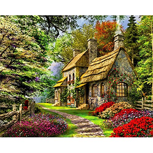 (Hukai DIY Digital Oil Painting Paint by Numbers On Canvas Home Room Decoration Needlecrafts Paintworks Paint By Number (Spring Cottage) )