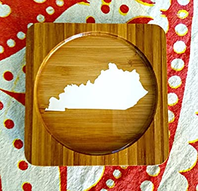 Kentucky (ANY STATE shape available!) Square Bamboo Coasters, Set of Four - CUSTOMIZE- Kitchen Decor, Barware, gift idea, wedding