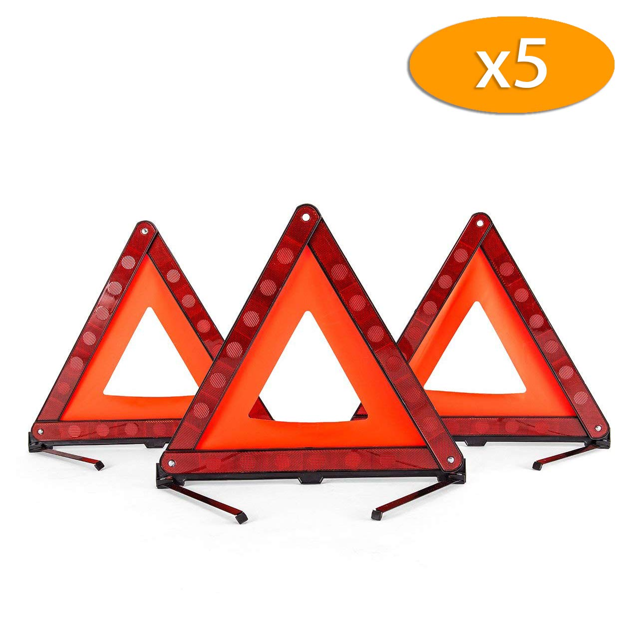 DEDC Warning Triangle Foldable Safety Triangle Triple Warning Kit Warning Triangle Reflector Roadside Hazard Sign Triangle Symbol for Emergency with Storage Bag (15 Pack)