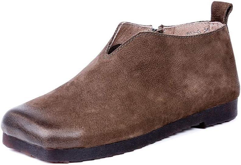 LIANGXIEW Botas Mujer,Café De Cabeza Cuadrada De Esmerilado Minimalista Original Vintage Moda Cómoda Suela De Goma Suave Cuero Artesanal Toe con Cremallera Lateral Solo Zapatos Botas Mujer