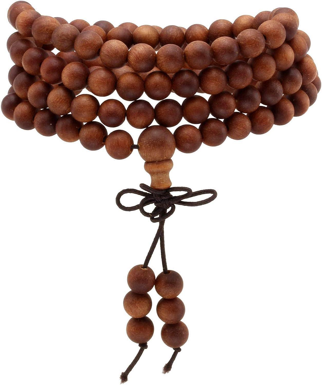 MILAKOO 6mm 108 Wood Beads Bracelet Mala Prayer Necklace for Buddha Meditation Tibetan