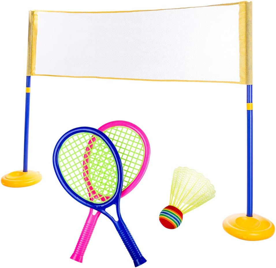 Leic Tenis Badminton Net Racket Toy Set 2-en-1 Indoor and Outdoor Tennis Badminton Sports Juguetes educativos para niños