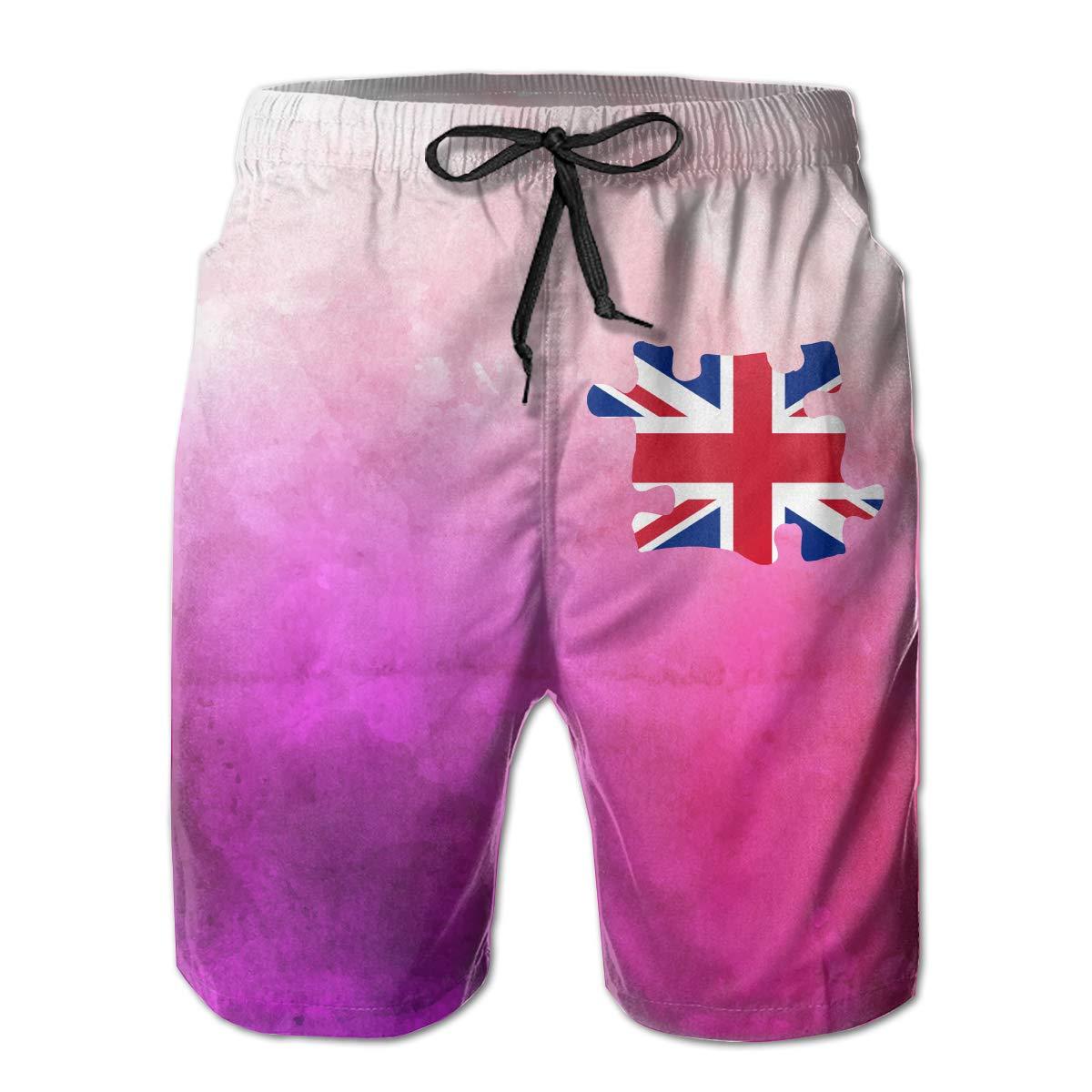 YGE.I.L25 Men Swim Trunks British Flag Autism 3 Lightweight Beach Boardshort with Pocket